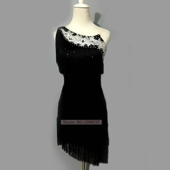 Latin Dance Dress For Women Black Rumba Samba Dancing Wear High Quality Adult Children Tassel Latin Dance Dresses