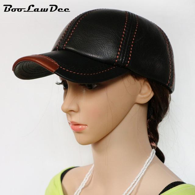BooLawDee Novo aquecimento ajustável chapéu boné de beisebol de couro de vaca dos homens para o sexo masculino adulto lazer inverno tampão ocasional fio vermelho branco 4L022