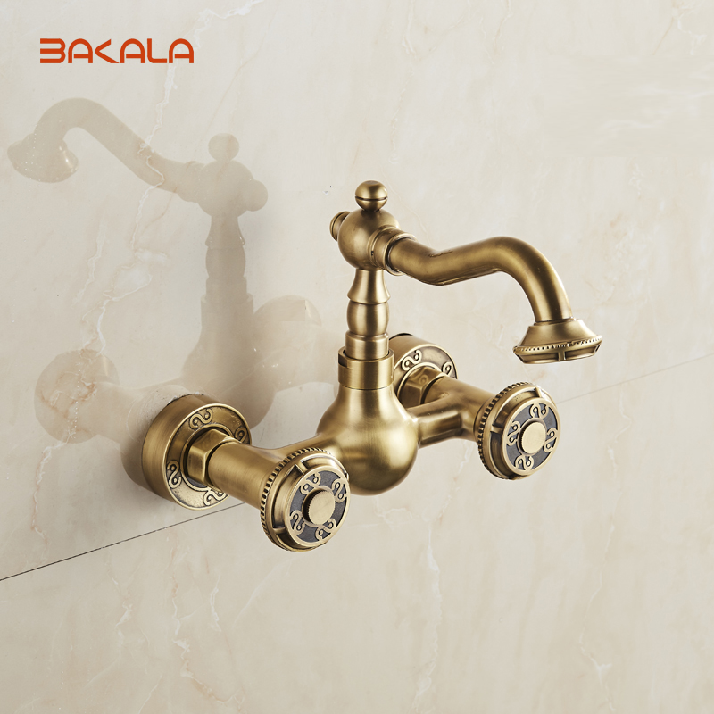 Bakala Wall Mounted Two Handles Antique Br Finish Kitchen Sink Bathroom Basin Faucet Mixer Tap 10705 In Bathtub Faucets From Home Improvement On