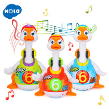 HOLA 828 Baby Toys Electric Hip Pop Dance Read & Tell Story & Interactive Swing Goose Kids Learning Educational Toys Gifts(China)