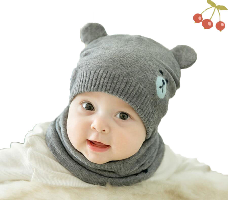 ec95112d1f9 Baby Boy Caps Winter Girl Hats And Ring Scarves 2 Pcs Set Cotton Kids  Cartoon Beanies Cap Scarf Collar Children Hat Accessories-in Scarf