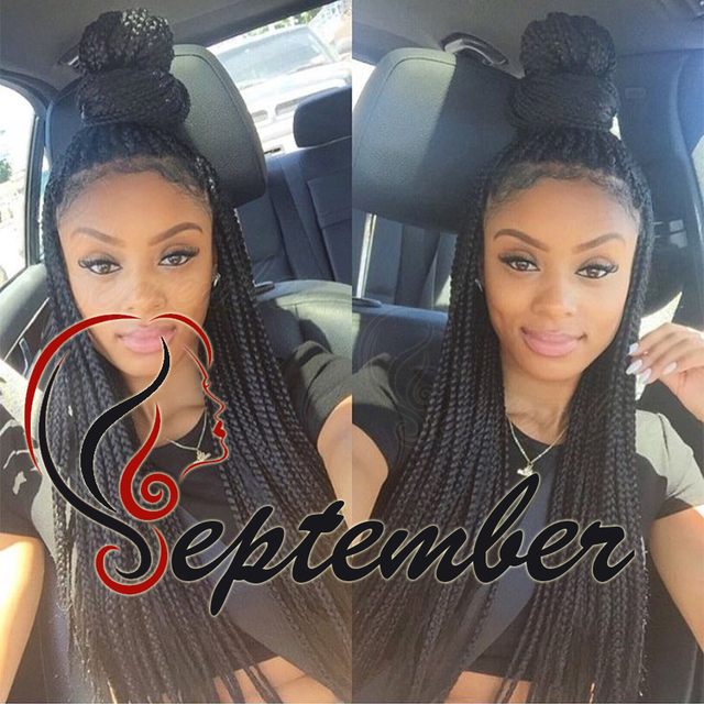 African American Hair Braiding Styles Synthetic Lace Front Wig Glueless Box Braided