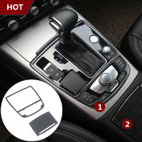 For Audi A6 C7 Carbon Fiber Gear Box Water Cup Holder Panel Cover 2012 2015 2pcs