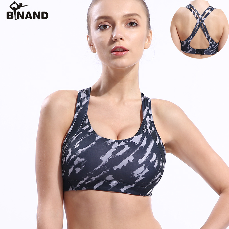 b5a05aab29bc6 BINAND Women Camouflage Print Sports Bra Cross Straps Sexy Back Seamless  Gym Running Yoga Bra Push Up Simple Fitness Clothing
