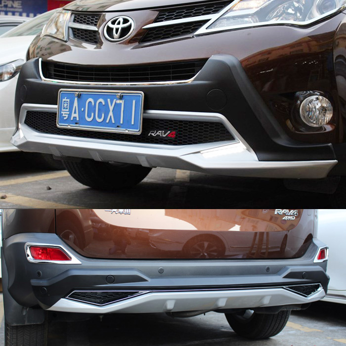 front rear bumper board guard skid plate bar protector for toyota rav4 2013 2014 2015 with led. Black Bedroom Furniture Sets. Home Design Ideas