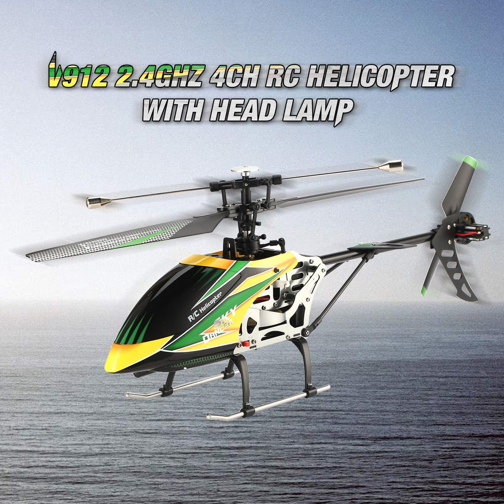 V912 RC Drone Sky Dancer Aircraft 2.4GHz RTF Helicopter 4 Channel Single Blade RC Helicopter With Head Lamp Light RC Quadcopter wltoys v913 single propelle 4 ch 2 4ghz large helicopter sky dancer uppgrade version v911 v912 page 4