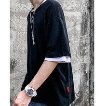 HFNF Mens T Shirt Pure color O-Neck Male Cotton Elastic Short Sleeve ShirtPure