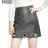 YNZZU 2017 Sonbahar Kadın Etekler Vintage Yüksek Bel Halkalar Chic Faux Deri Etek Bir Çizgi Fermuar Mini Etek Kadın YB164