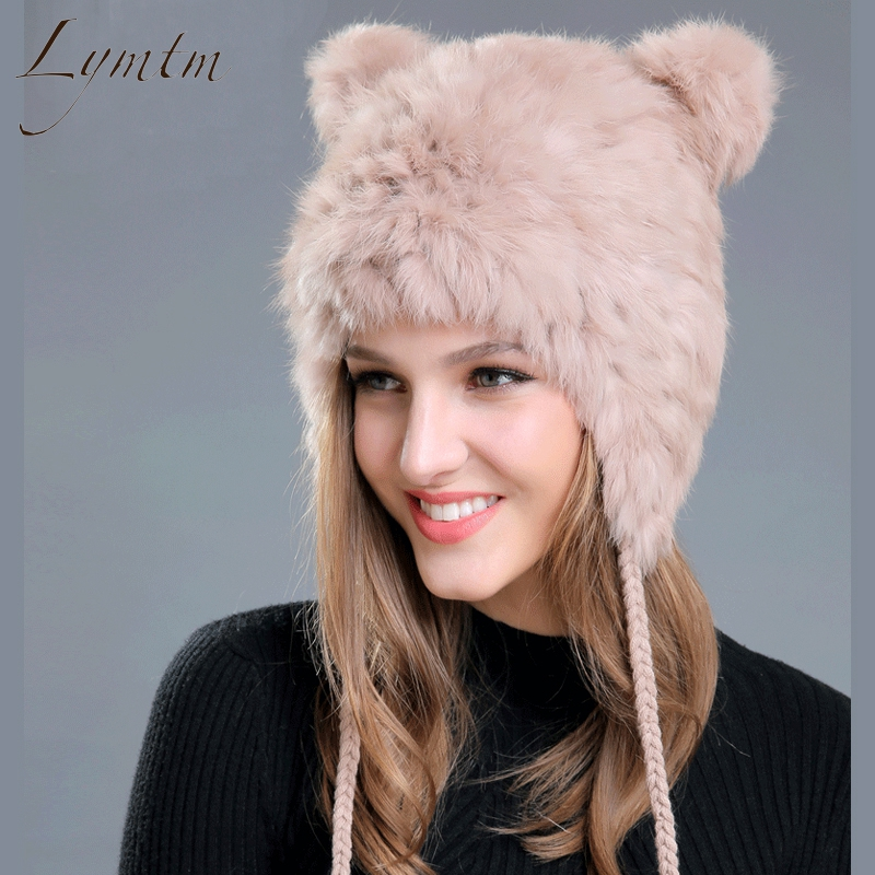 [Lymtm] Women Winter Lovely Bear Ear   Skullies     Beanies   2018 New Genuine Rex Rabbit Fur Fabric Knitted Hats Girls Solid Colors Cap