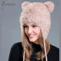 [Lymtm] mujeres invierno oso encantador oído skullies gorros 2018 genuino conejo Rex Pieles de animales Telas punto sombreros Niñas colores Sólidos cap