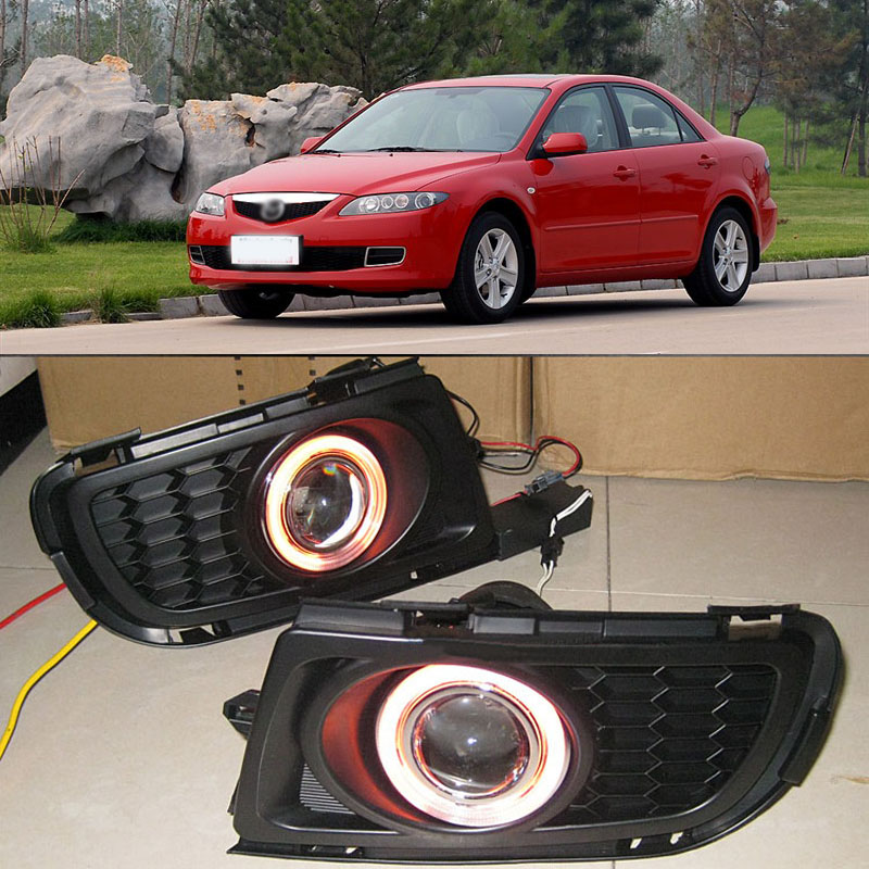Ownsun New Innovative COB Fog Light Angel Eye Bumper Projector Lens for Mazda 6 ownsun innovative super cob fog light angel eye bumper projector lens for toyota camry
