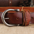 Vintage belt casual male strap pleated brief genuine leather pin buckle genuine leather women's belt