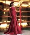 Nueva Llegada de La Manera de La Sirena Sin Tirantes de Apliques de Encaje Completa Fuera del Hombro de Encaje Celebridad Viste el Vestido Formal