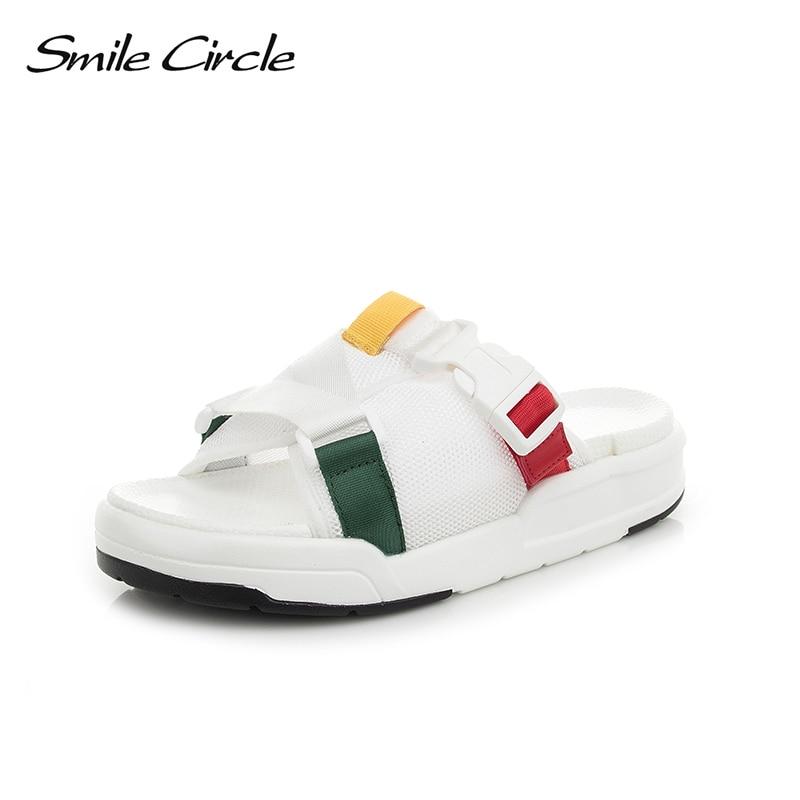 Smile Circle 2018 Summer flip flop women shoes Flat bottomThick bottom Soft Soles Fashion Non-slip Slippers woman flip flop crocs huarache flip flop