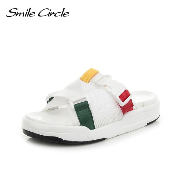 a93f7d466f3e Smile Circle 2018 Summer flip flop women shoes Flat bottomThick bottom Soft  Soles Fashion Non-slip Slippers woman flip flop