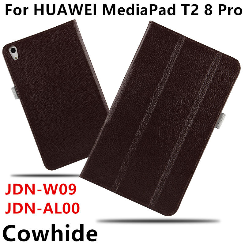 Case Cowhide For Huawei MediaPad T2 8Pro Genuine Smart cover Leather Protective For HUAWEI Honor Tablet 2 JDN-W09/AL00 Protector coque smart cover colorful painting pu leather stand case for huawei mediapad m3 lite 8 8 0 inch cpn w09 cpn al00 tablet