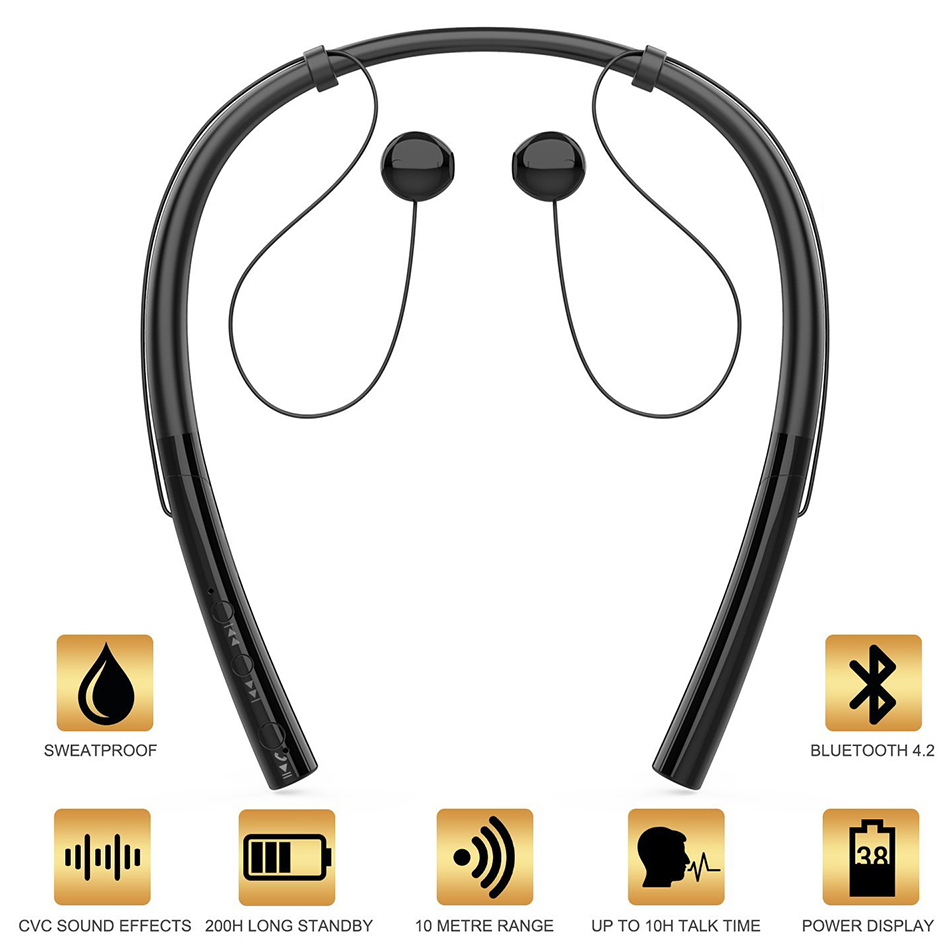 Bluetooth Earphones Neckband Wireless Headphone Headset hands Free Noise Cancelling Headphones for Sports Earphone with Mic tqskk 2017 new bikinis women swimsuit high waist bathing suit plus size swimwear push up bikini set vintage retro beach wear xxl