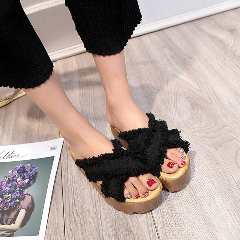 Woman Sandals Denim Tassels Slippers Slip On Creepers Casual Platform Shoes Woman Summer Style Beach Fashion Women Flats Shoes lanshulan wedges gladiator sandals 2017 summer peep toe platform slippers casual glitters shoes woman slip on flats creepers