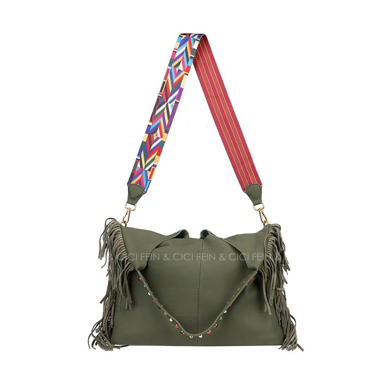 60badb4d69 women large jumbo hobo shoulder bag cowskin genuine leather bag tassel bag  crossbody summer 2017 fashion black green-in Shoulder Bags from Luggage   Bags  on ...