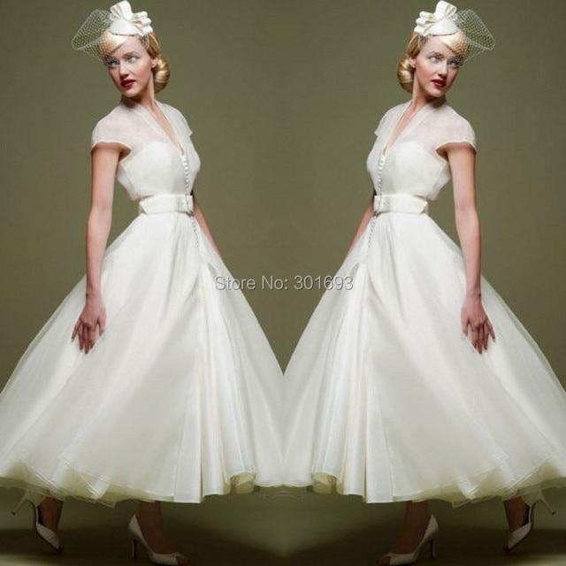 Oumeiya OMW117 Organza V Neck Short Sleeve Tea Length 50S Or 60S Vintage  Wedding Dress 2015 64265712becb
