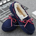 genuine leather cow suede 100% natural wool lining slipper fashion warm long plush new arrival style casual shoes luxury flat
