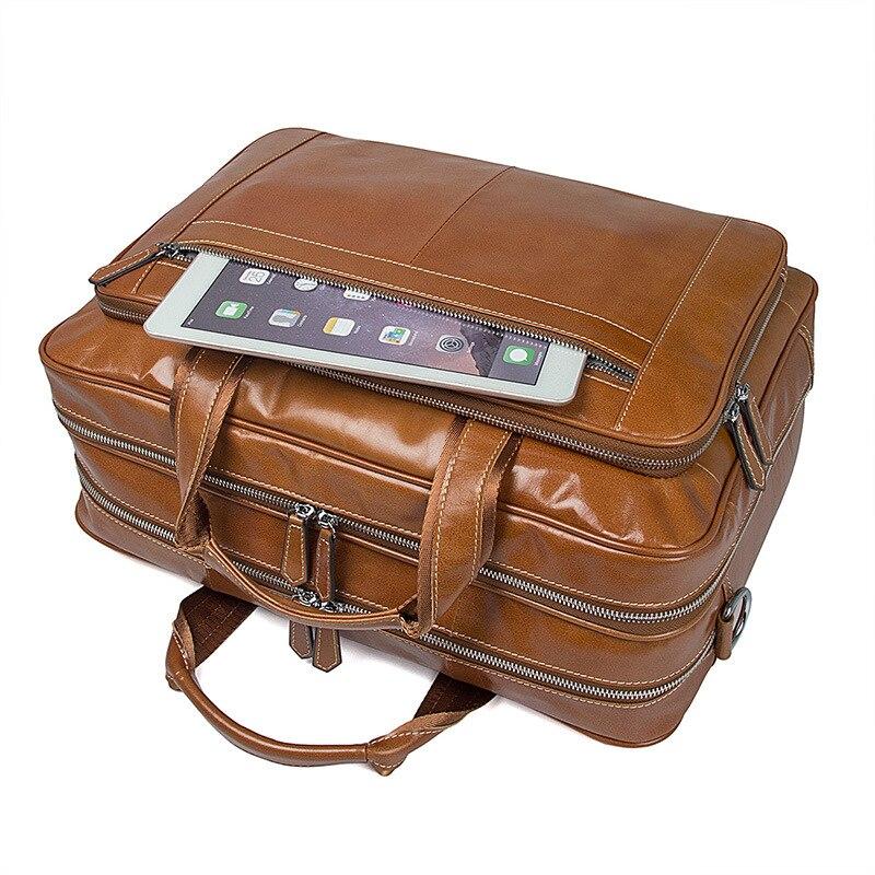 Роскошная винтажная Мужская сумка из натуральной кожи, Большой Вместительный деловой мужской портфель, сумки для ноутбука - 5