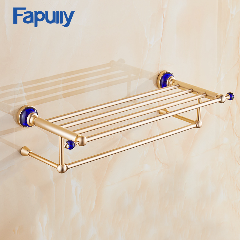 Fapully Towel Rack Space Aluminum Bathroom Wall Mounted Gold Bath Towel Holder Rack Towel Shelf bracket wall towel rack towel rack solid wood bathroom toilet wall shelf rack antique industrial iron shelf