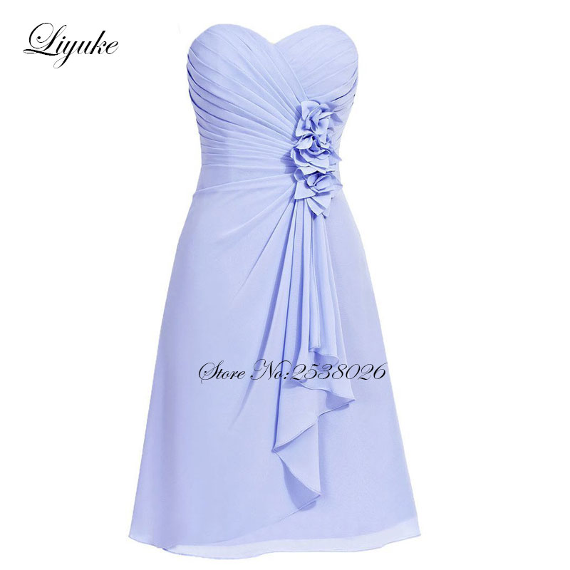 Liyuke Pleat   Prom     Dress   A Line Strapless Party   Dress   Knee-Length Beautiful Sash Formal   Dresses   Custom Made