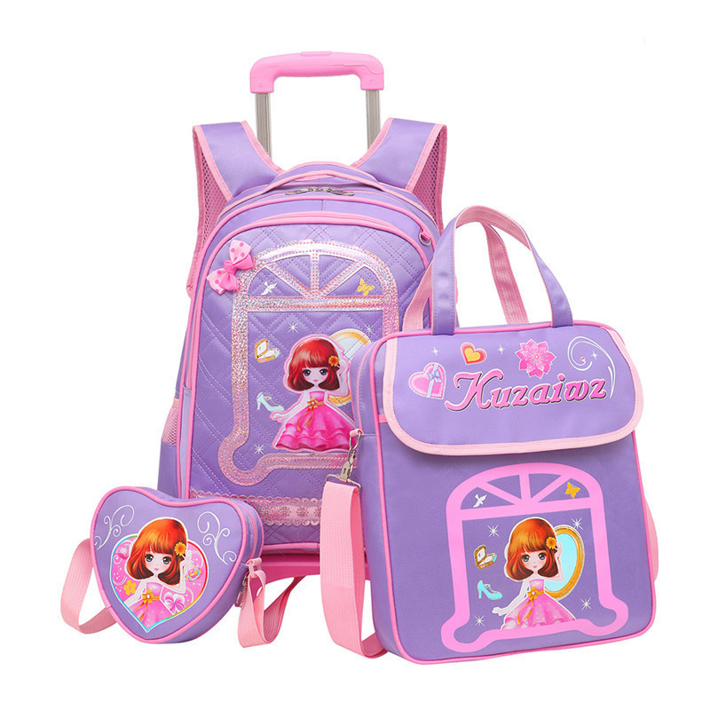 3PCS sets Girls Trolley Rolling Backpack Climb the stairs school bag children Detachable waterproof backpack travel luggage