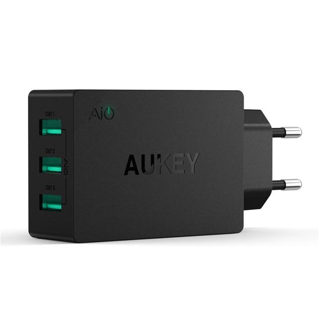 AUKEY 30 W/6A USB Multi Portas USB Adaptador de Carregador de Parede de Viagem com aipower adaptativo tecnologia de carregamento & plugue dobrável para iphone 6 s 6