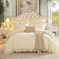 Luxury Korean Princess Style Beige Pink Winter Fleece Fabric Thick Bedding set Duvet Cover Bed sheet Lace Bed skirt Pillowcases