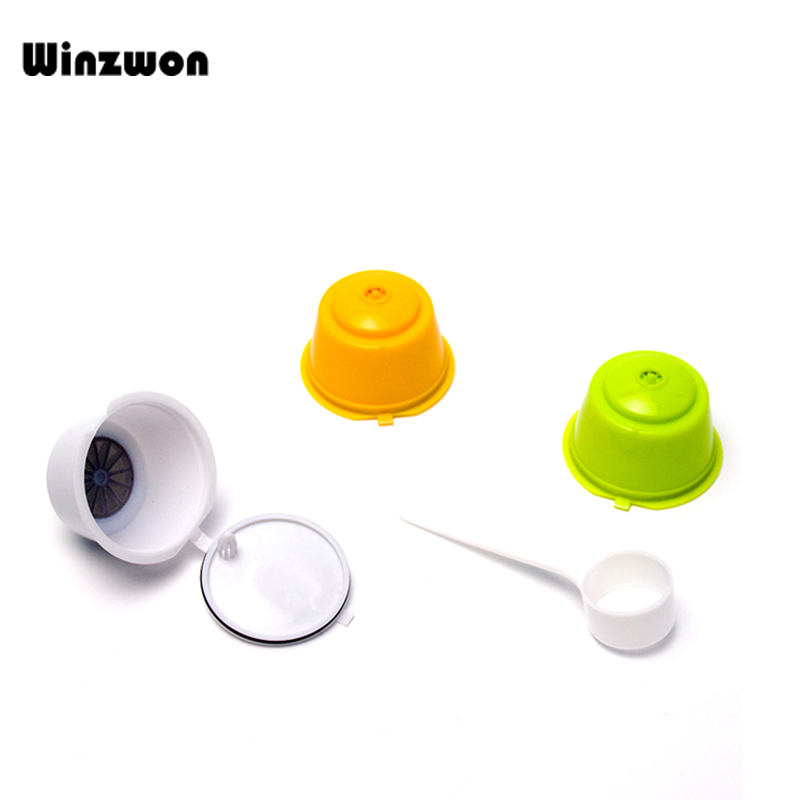 3Pcs/set Reusable Refillable Coffee Capsule Pods Coffee Filters With Scoop Brush For Nescafe Dolce Gusto Coffee Maker Machine