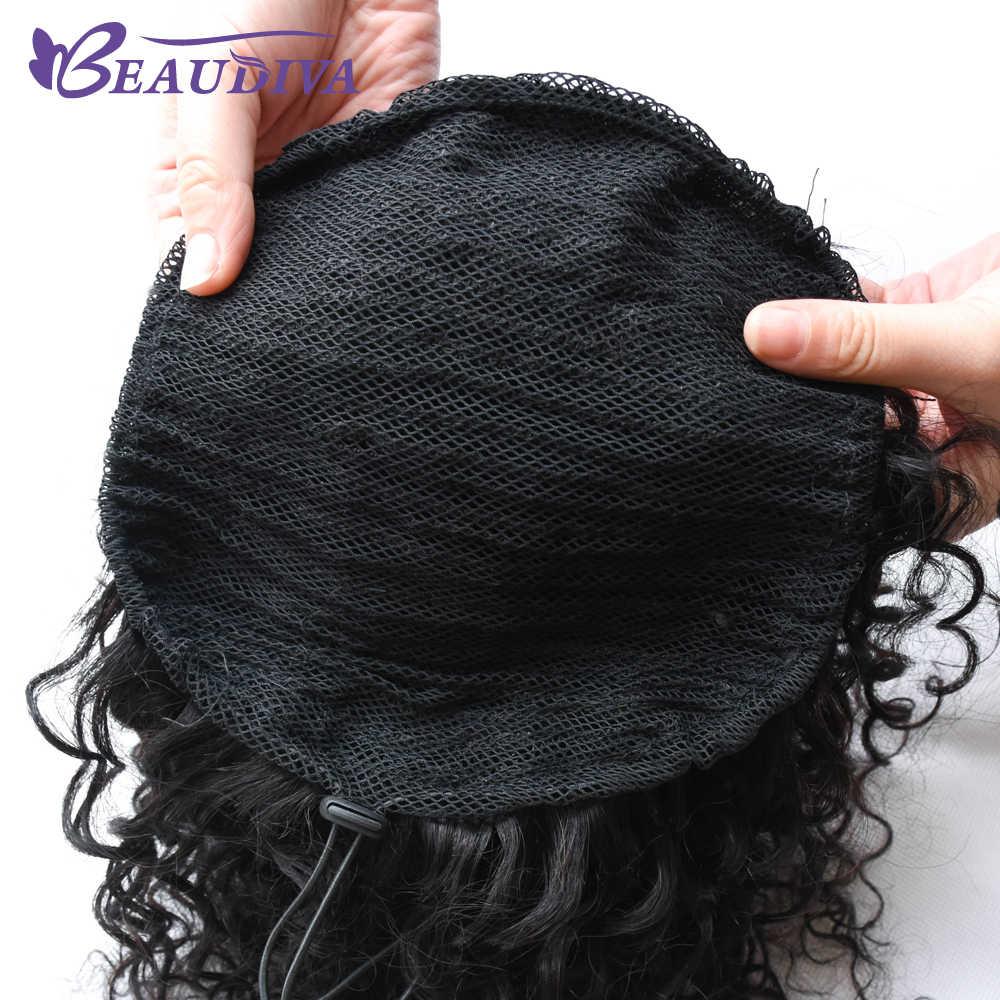 BEAUDIVA brasileño rizado Cola de Caballo para mujeres brasileño 3B 3C Color negro Natural Clip en extensiones de cabello humano