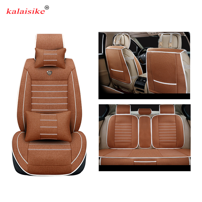 цена Kalaisike Linen Universal Car Seat covers for MG all models MG7 MG5 MG6 MG3 ZS automobiles styling car accessories auto Cushion