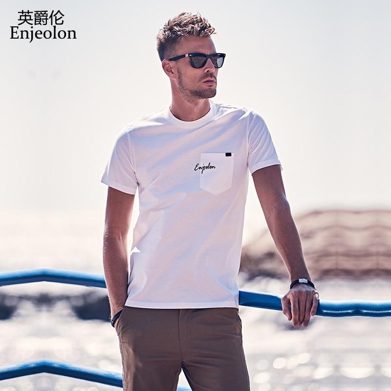 Enjeolon Men T Shirt Summer Short Sleeved O-neck Pocket Cotton Print Tshirt Male Top Tee Shirt T8144