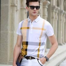 d8c475a348d Высокое качество мужские Поло рубашка для мужчин брендовая одежда короткий  рукав Бизнес повседневное Плед Дизайнер homme