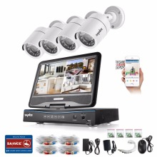 SANNCE 4CH 720P Security Camera System with Build-in 10.1″ LCD Monitor and 1.0MP 1280TVL HD IR Outdoor Surveillance Camera