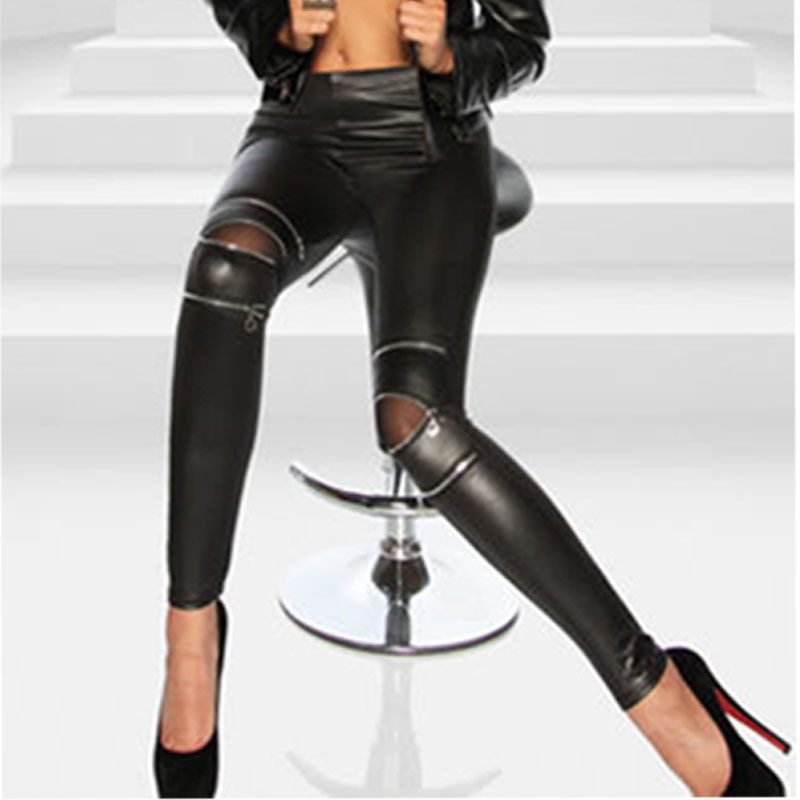 Sexy Women Faux Leather Leggings High-elastic Knee Three Zipper  Leggins Thin Black Stretchy Leggins Push Up Hole Slim Fit Pants