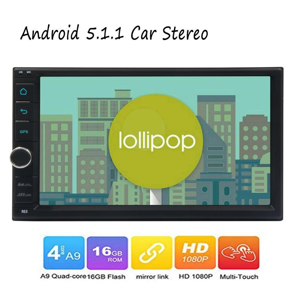 Two din Car Stereo Android 5.1 in Dash GPS Navigation FM Radio Double din Automotive Audio Head Unit Mirror Link for Phone WIFI