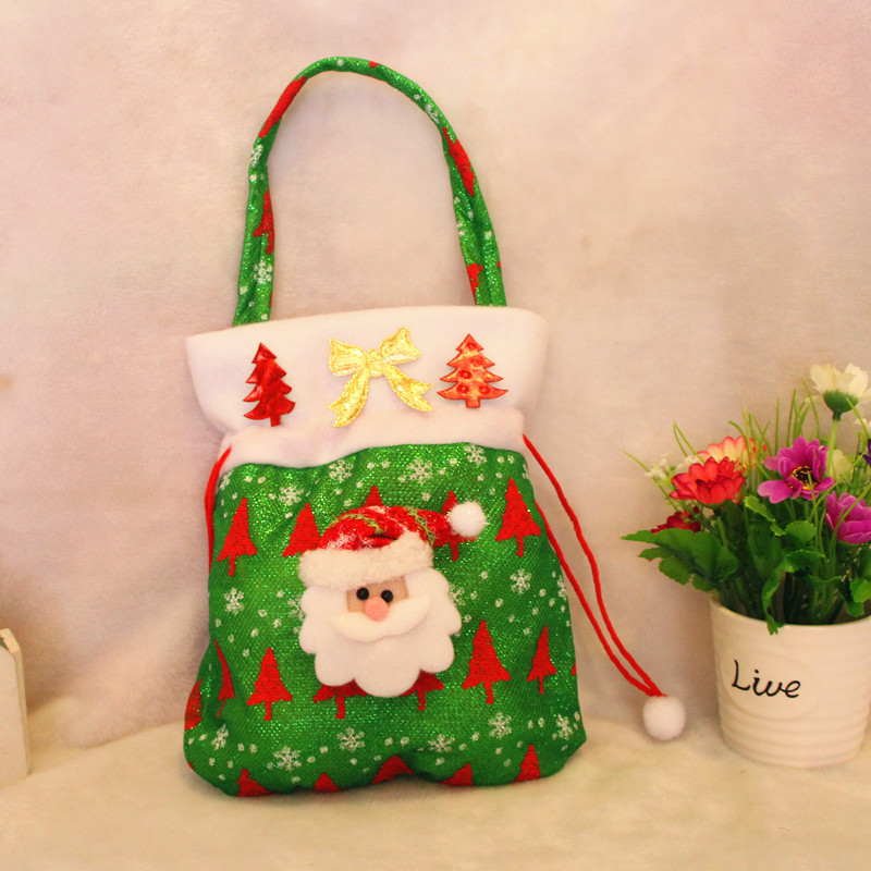 2017 velvet gift bag Christmas gift bags of candy bag tree decoration Santa and snowman mode Three kinds of style