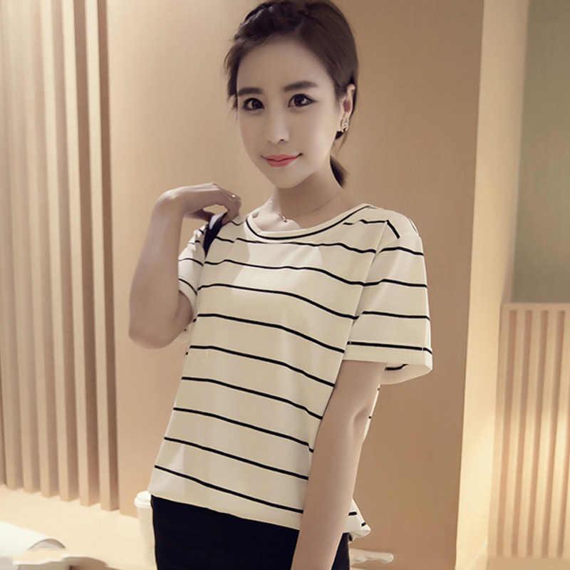 女性の Tシャツレディースガールズ学生原宿夏新ルースストライプトップス Tシャツカジュアル女性かわいい服女性 Tシャツ