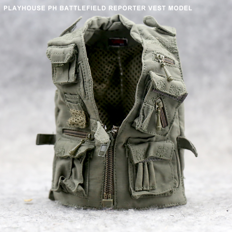 "1:6 Scale Army Green Vest Journalist Vest Jacket Clothes for 12/"" Action Figure"