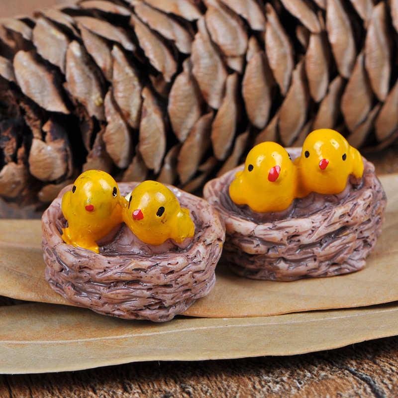 Miniaturas de jardín de hadas gnomos terrarios con musgo figuras de artesanías Newresin para decoración del hogar Accesorios Mini nido con pájaros