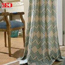 Blackout Curtains Green Drapes Blinds Panels Bedroom Window Geometric Living-Room Modern