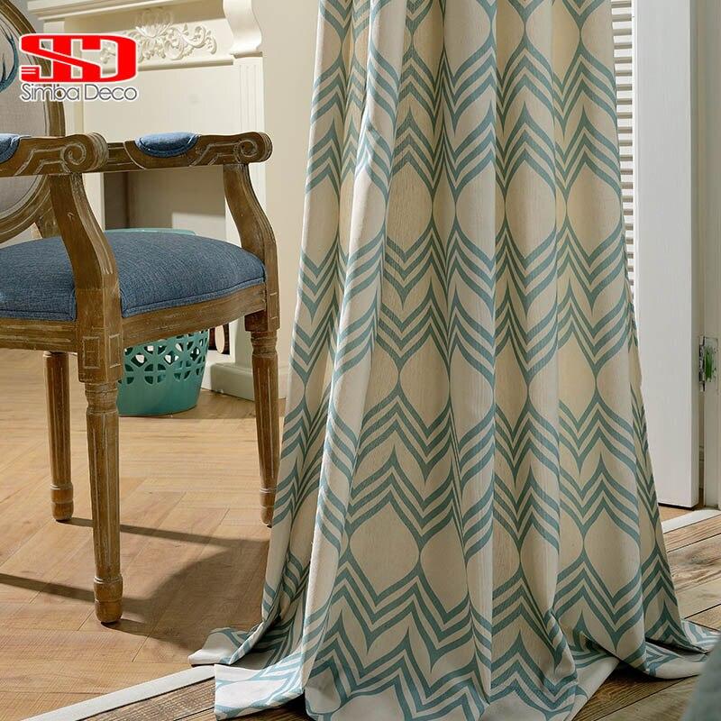 Vert Blackout Rideaux Pour Salon Géométrique Vague Moderne Coton Romain Stores Enfants Panneaux Rideaux Pour Chambre Fenêtre
