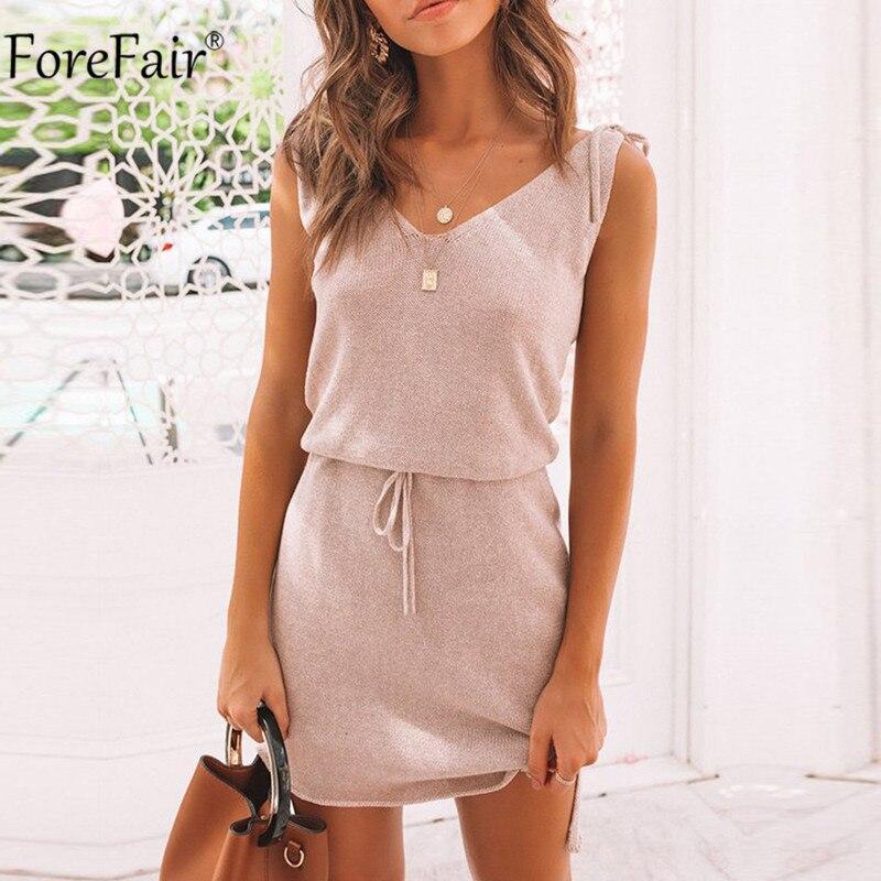 Forefair Off Shoulder V Neck Strap Summer Women Dress Lace-up Strap Backless Casual Dress