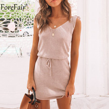 Forefair Off Shoulder V Neck Strap Summer Women Dress Lace-up Strap Backless Casual Dress