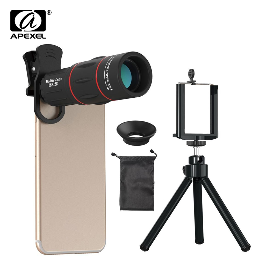 APEXEL 18X Teleskop Zoom Handy Objektiv Universal Clip Telefon Kamera Lentes Mit Stativ Für iPhone 7 8 x xs huawei p20 pro