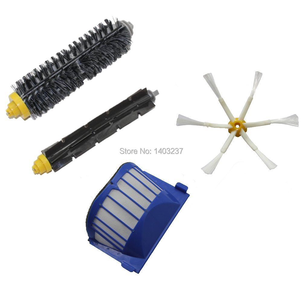 Aero Vac Filter Bristle Brush Flexible Beater Brush 6-Armed Side Brush for iRobot Roomba 600 Series (620 630 650 660 680)