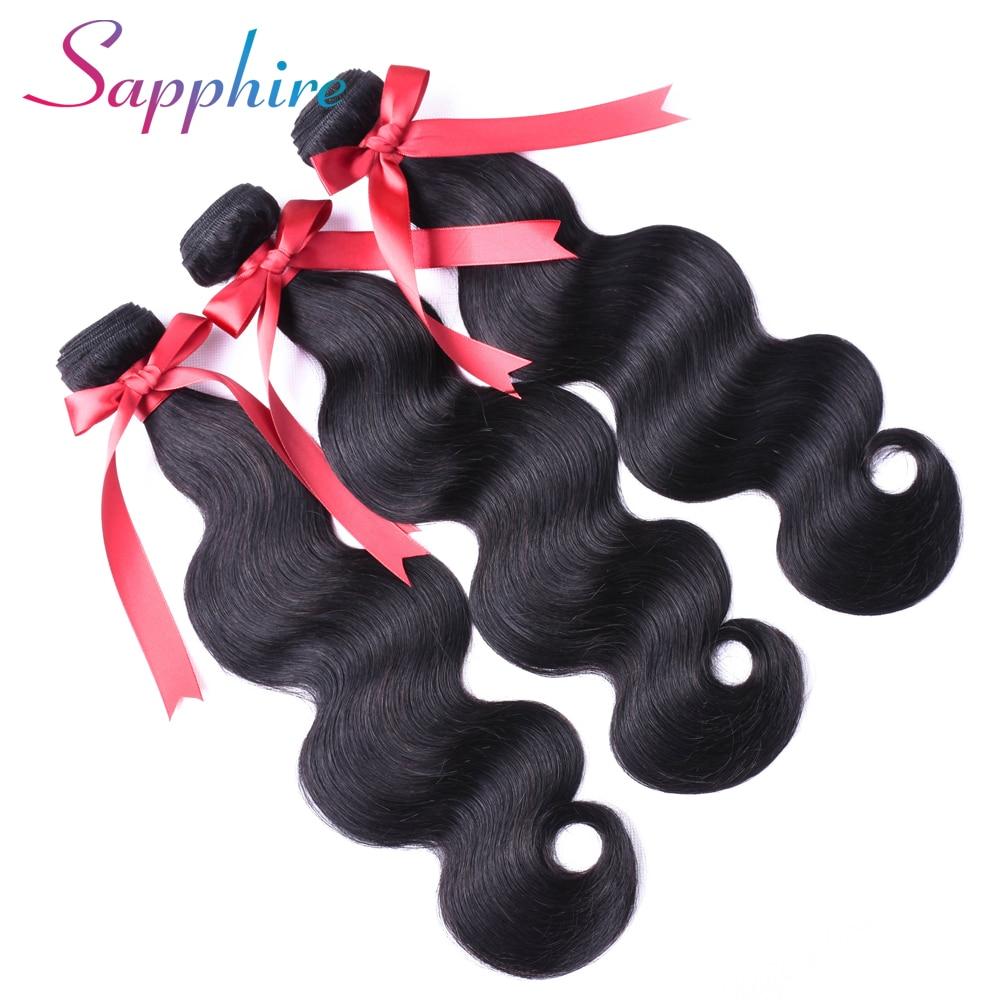 Сапфир волос Малайзия объемная волна 3 пучки 8-28 дюймов человеческих волос Weave Связки-человеческих волос натуральный Цвет Бесплатная достав...